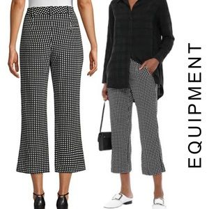 Equipment NWT 100% Silk Bergen Cropped Check Pants